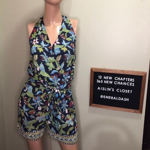 Tory Burch Floral Wrap-Front Romper